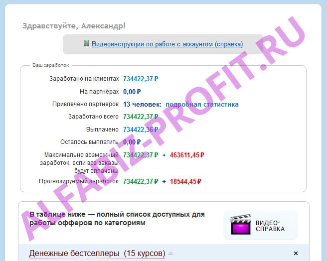 Пример заработка на партнерской программе 734422 рубля!